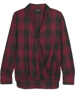 Wrap-effect Checked Voile Shirt