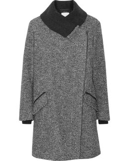 Leather-trimmed Wool And Cotton-blend Coat