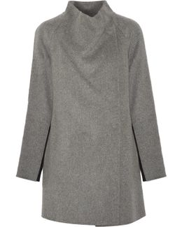Two-tone Brushed And Knitted Wool-blend Coat