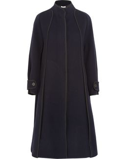 Twill-trimmed Wool-blend Felt Coat