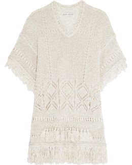 Janine Fringed Open-knit Sweater