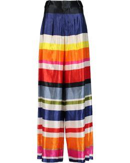 Scarlet Striped Cotton-blend Satin Wide-leg Pants