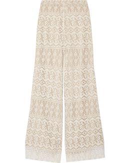 Athena Cotton-blend Lace Wide-leg Pants