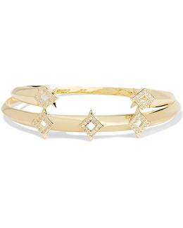 Sargas Set Of Two Gold-tone Crystal Bangles