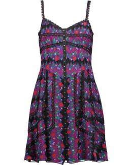 Lace-trimmed Printed Silk-voile Mini Dress