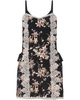 Lace-paneled Printed Silk Crepe De Chine Mini Dress