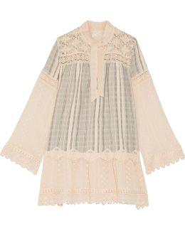 Lace-paneled Striped Cotton-gauze Mini Dress