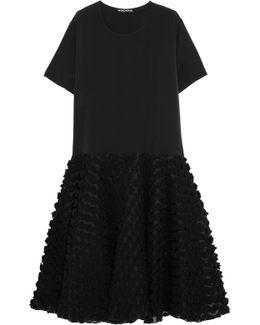 Appliquéd Silk Midi Dress