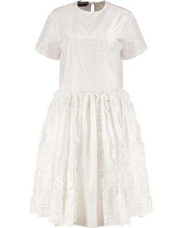 Polka-dot Ruffled Silk Midi Dress