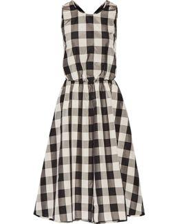 Cutout Gingham Silk And Cotton-blend Midi Dress