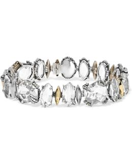 Silver And Gold-tone And Crystal Bracelet