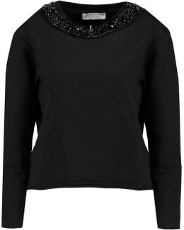 Bead-embellished Cotton-blend Jersey Sweatshirt