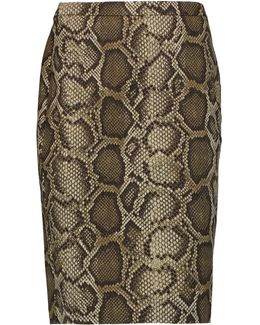 Columbia Snake-print Cotton-blend Skirt