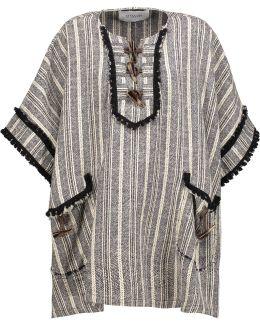 Embellished Striped Cotton-blend Cape
