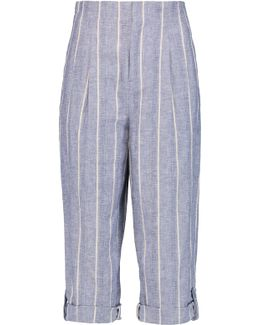 Rey Striped Linen And Cotton-blend Culottes