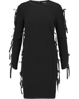 Bow-embellished Crepe Mini Dress
