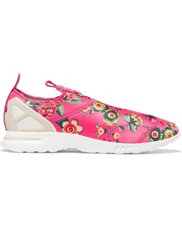 Zx Flux Suede-trimmed Printed Scuba Slip-on Sneakers