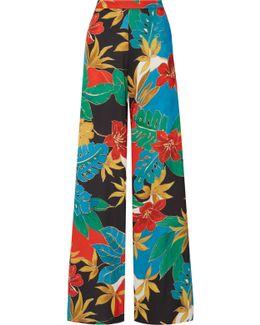 Athena Printed Stretch Crepe De Chine Wide-leg Pants
