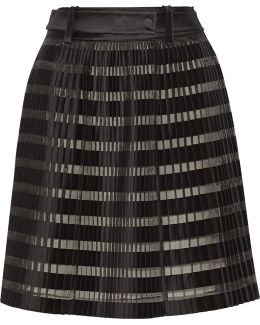Pleated Satin And Organza-paneled Skirt