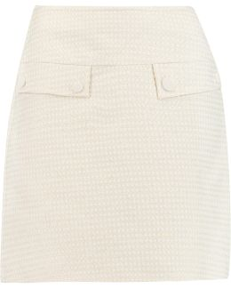 Metallic Cotton-blend Mini Skirt