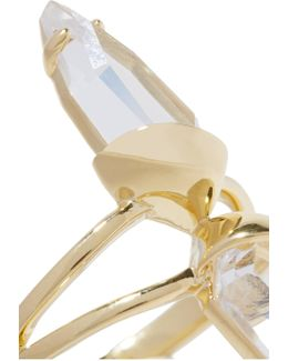 Set Of Three Gold-tone Crystal Rings