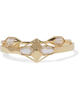 Set Of Two Gold-tone Crystal Cuffs