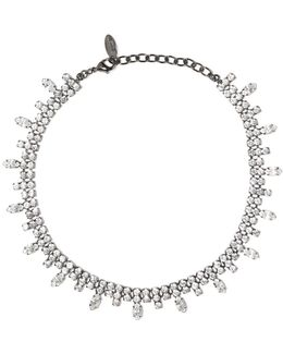 Gunmetal-tone Crystal Necklace