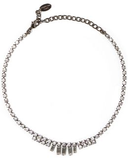 Gunmetal-tone Swarovski Crystal Necklace