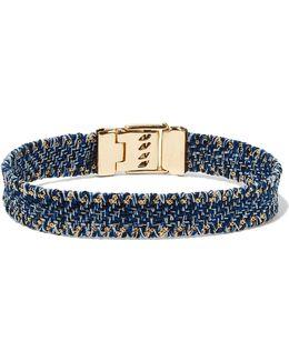 Gold-tone Woven Denim Bracelet