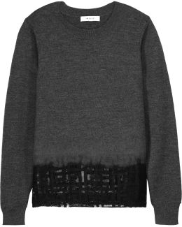 Mesh-paneled Wool Sweater