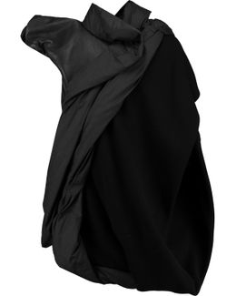 Asymmetric Paneled Leather And Wool-blend Jacket