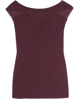 Tulle-paneled Jersey Top