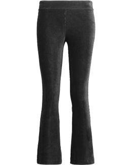 Cropped Velvet Flared Pants
