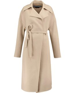 Belted Wool And Angora-blend Coat