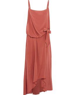 Draped Tie-front Washed-silk Midi Dress
