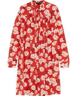 Pussy-bow Ruffled Floral-print Silk Dress