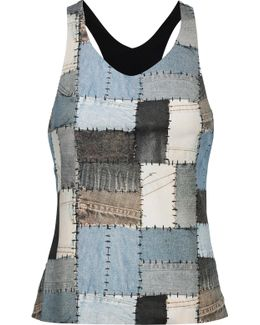 Patchwork-effect Stretch-jersey Tank