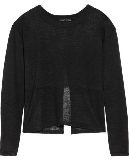 Andora Open Knit-paneled Linen Sweater