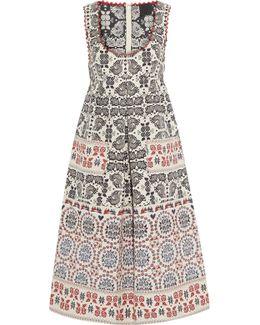 Pleated Metallic Cotton-blend Jacquard Dress