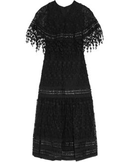 Leather And Guipure Lace-trimmed Embroidered Mesh Maxi Dress