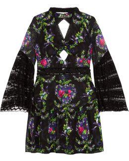 Cutout Lace-trimmed Fil Coupé Dress