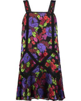 Gardenia Macramé Lace-trimmed Burnout Chiffon Mini Dress