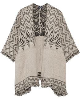 Jacquard-knit Cotton-blend Poncho