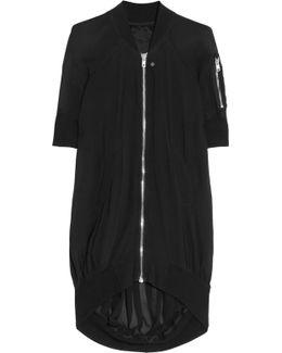 Asymmetric Silk-crepe Bomber Jacket