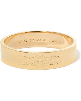 Turnlock Engraved Gold-tone Bangle