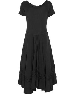 Scalloped Pleated Stretch-knit Dress
