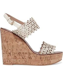 Laser-cut Leather Wedge Sandals