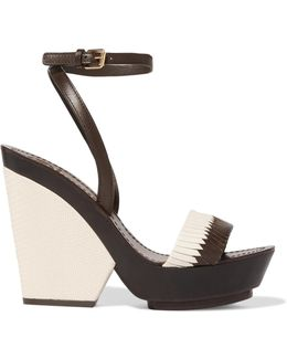 Woven And Lizard-effect Leather Wedge Sandals