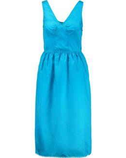 Lace-trimmed Gathered Satin-twill Midi Dress