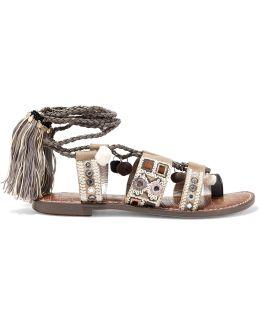 Gretchen Tasseled Embellished Leather Lace-up Sandals